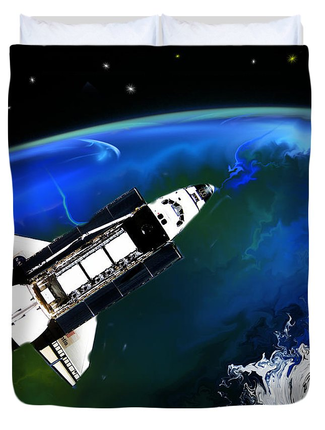 Fine Art Duvet Cover featuring the digital art Shuttle On Orbit by David Lane