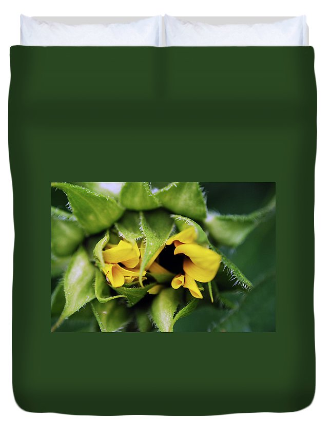 Sunflower Duvet Cover featuring the photograph Shy by Lori Tambakis