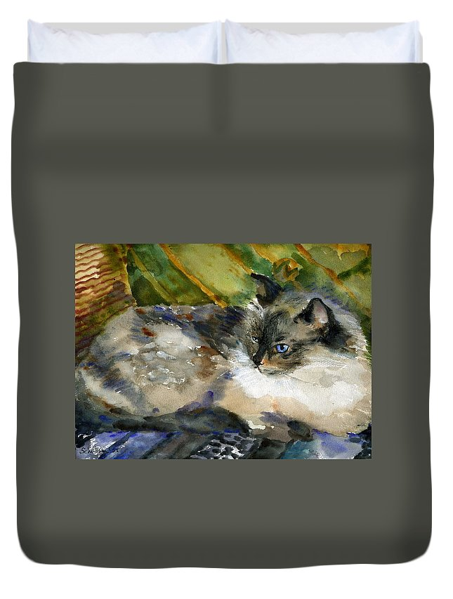 Art Duvet Cover featuring the painting Siamese Basking by Miriam Schulman