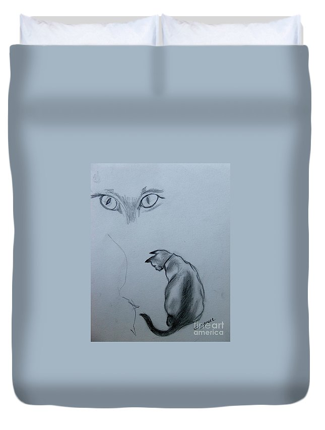 Cat Duvet Cover featuring the painting Siamese Cat Study by Caroline Street