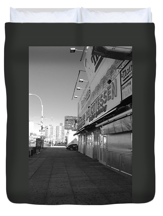 Brooklyn Duvet Cover featuring the photograph Sidewalks Of Gum In Black And White by Rob Hans