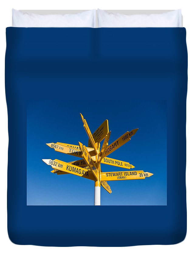 Arrow Duvet Cover featuring the photograph Signpost In Sterling Point Bluff by U Schade