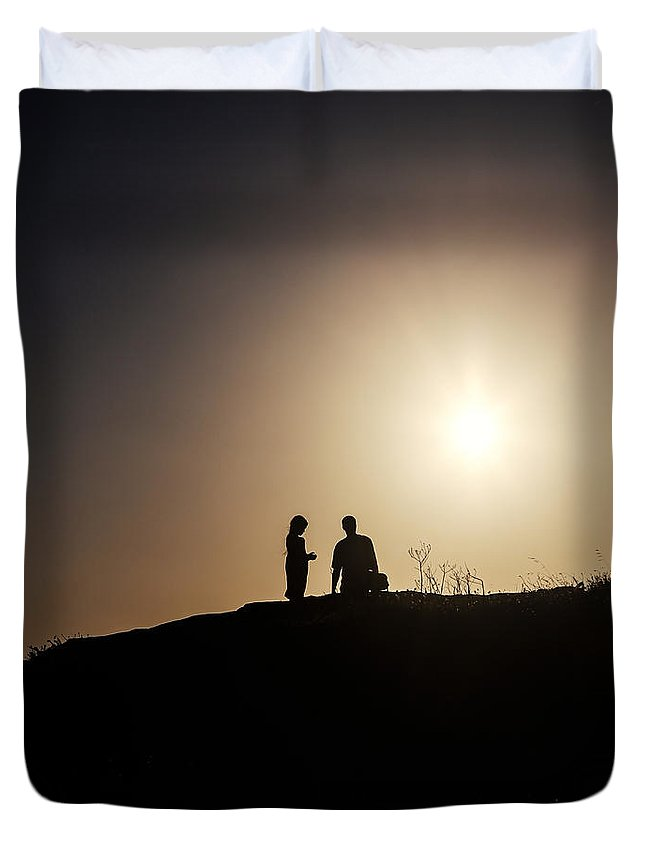Two Duvet Cover featuring the photograph Silhouettes by Joana Kruse