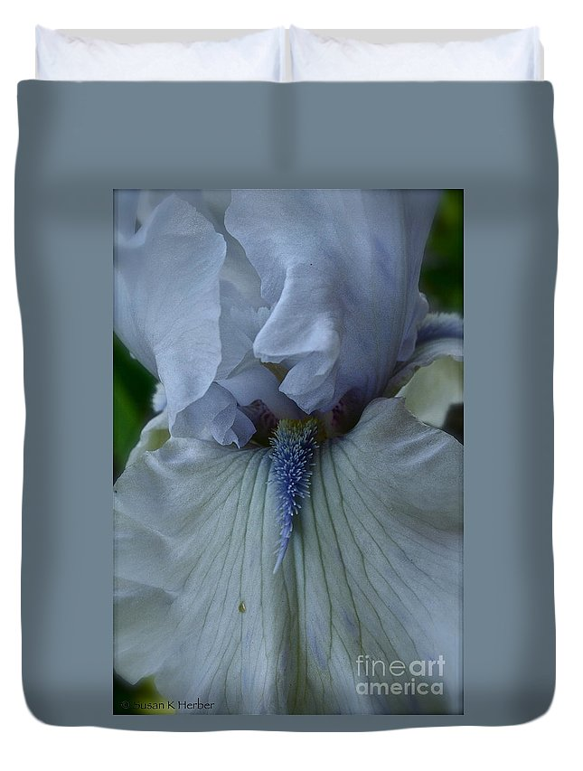Plant Duvet Cover featuring the photograph Silky Iris by Susan Herber