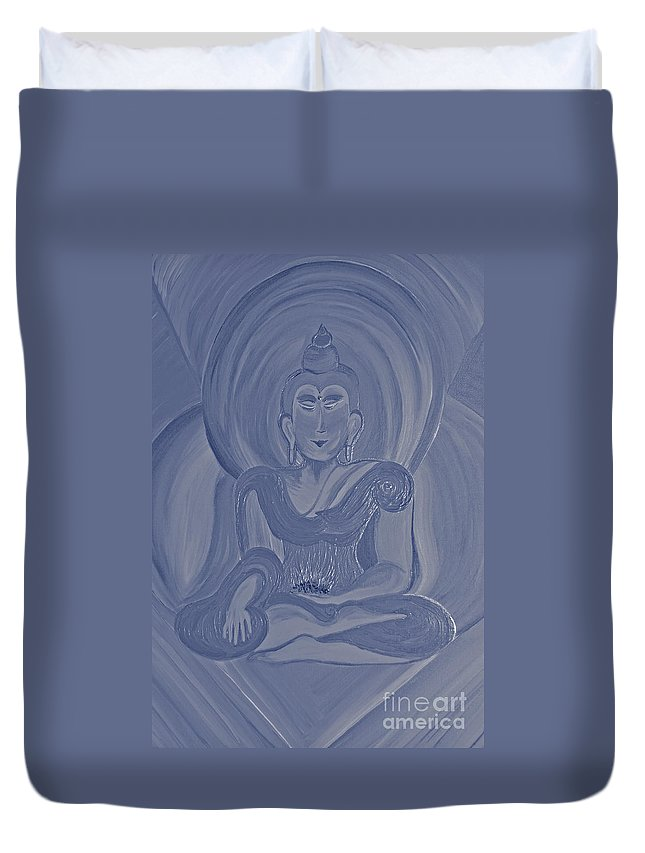 First Star Art Duvet Cover featuring the painting Silver Buddha by First Star Art
