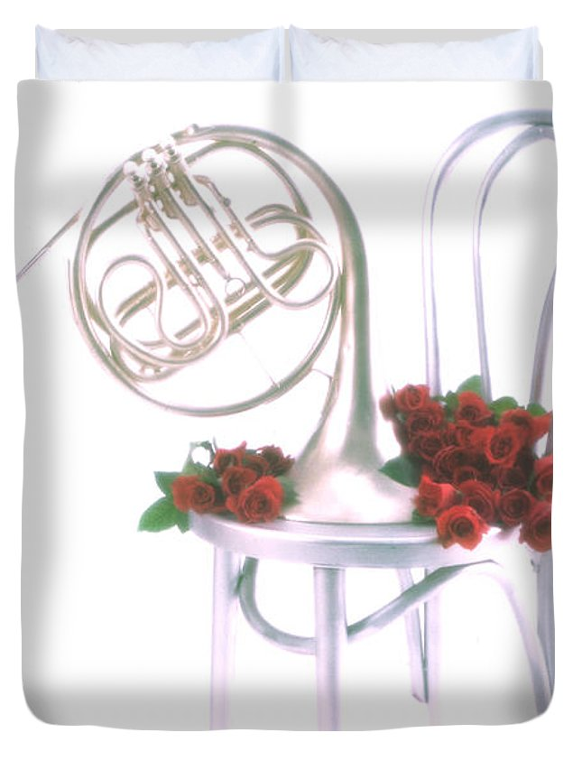French Duvet Cover featuring the photograph Silver French Horn On Silver Chair by Garry Gay