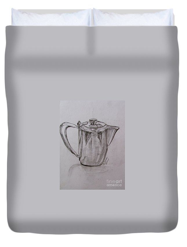 Still-life Duvet Cover featuring the painting Silver Teapot by Caroline Street