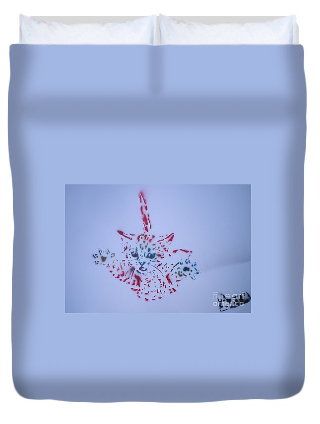 Cat Duvet Cover featuring the painting Simple Cat Color by Barry Boom