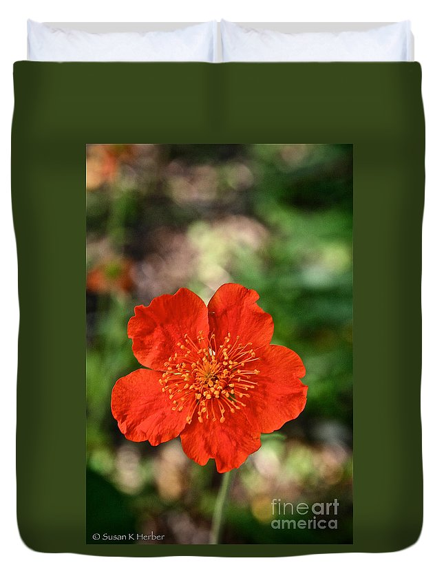 Plant Duvet Cover featuring the photograph Simple Red by Susan Herber