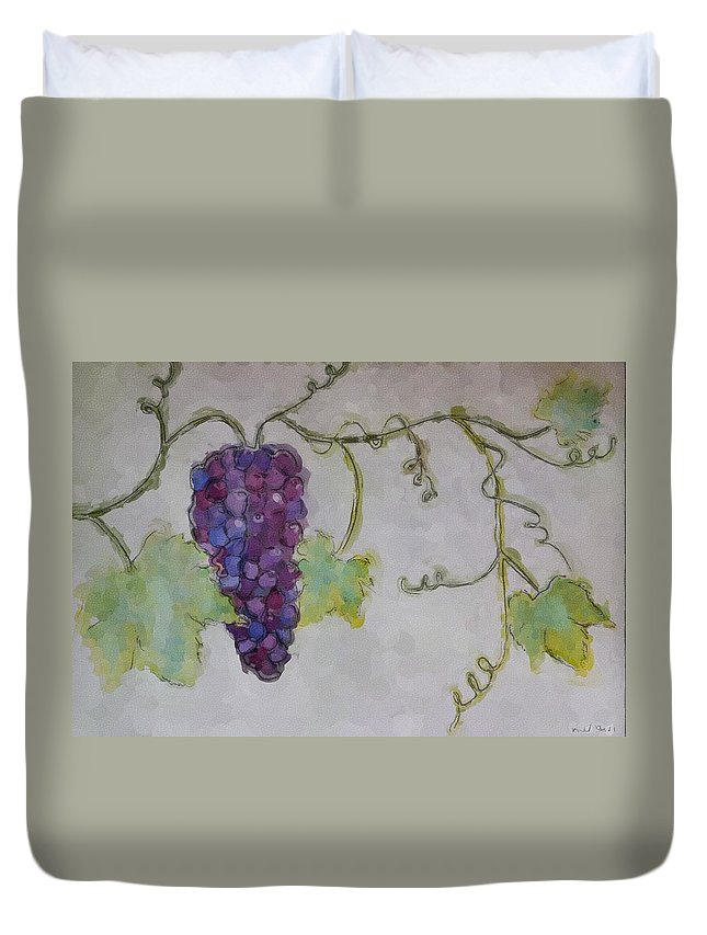 Watercolor Duvet Cover featuring the painting Simply Grape by Heidi Smith