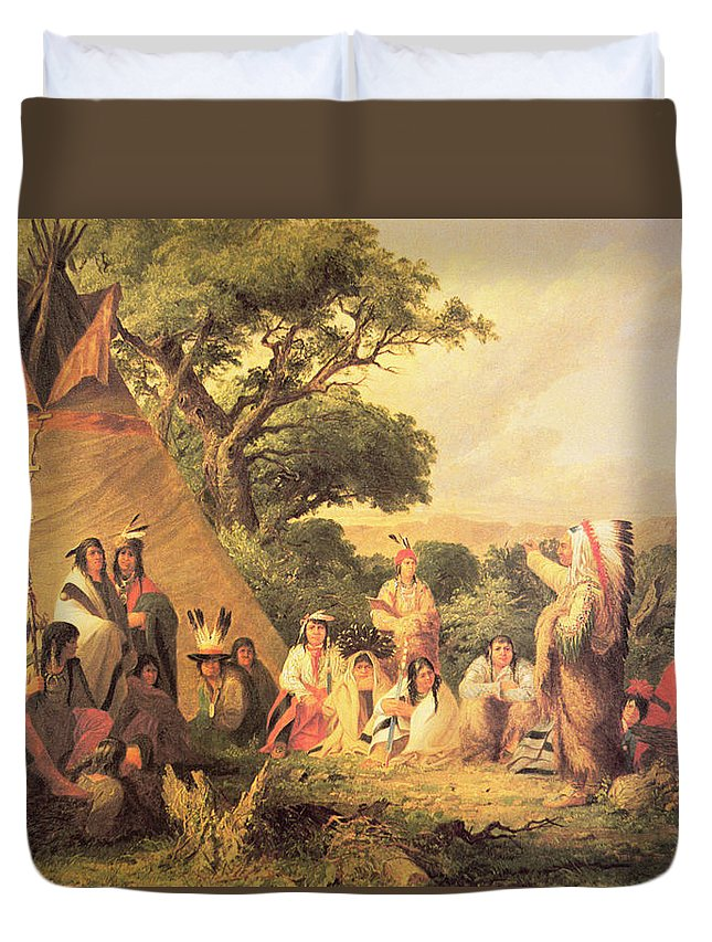 Native American Indian; Indians; Sioux Camp; Tepee; Teepee; Wigwam; Traditional Dress; Traditional Costume; Feathered Headdress; Chief; Seated; Circle; Speaking; Settlement; Dwelling; Community; Tribe; Tribal; Meeting Duvet Cover featuring the painting Sioux Indian Council by Captain Seth Eastman