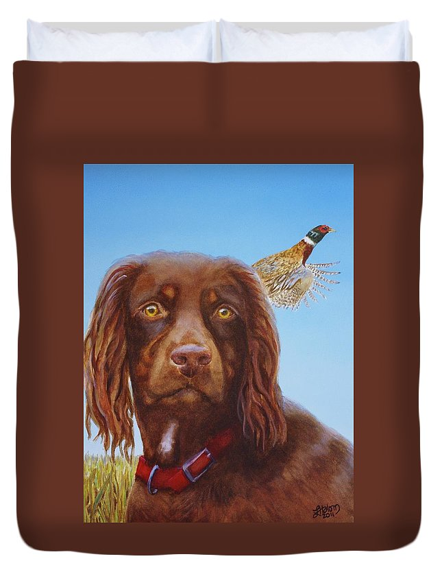 Duvet Cover featuring the painting Sir Elliot by Greg and Linda Halom