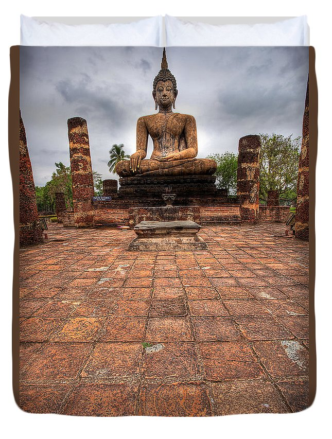 Ancient Duvet Cover featuring the photograph Sitting Buddha by Adrian Evans