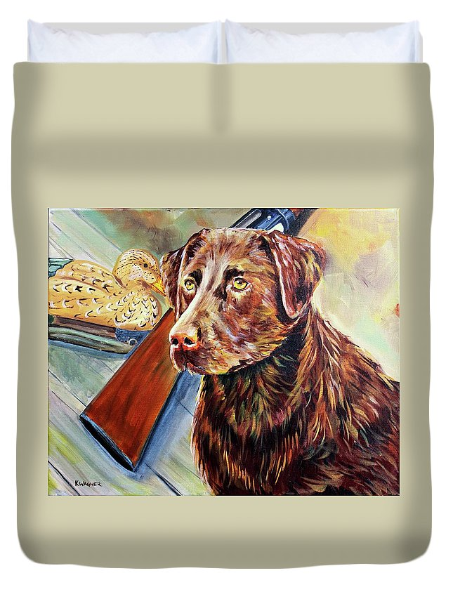 Labrador Retriever Duvet Cover featuring the painting Sitting On Go by Karl Wagner