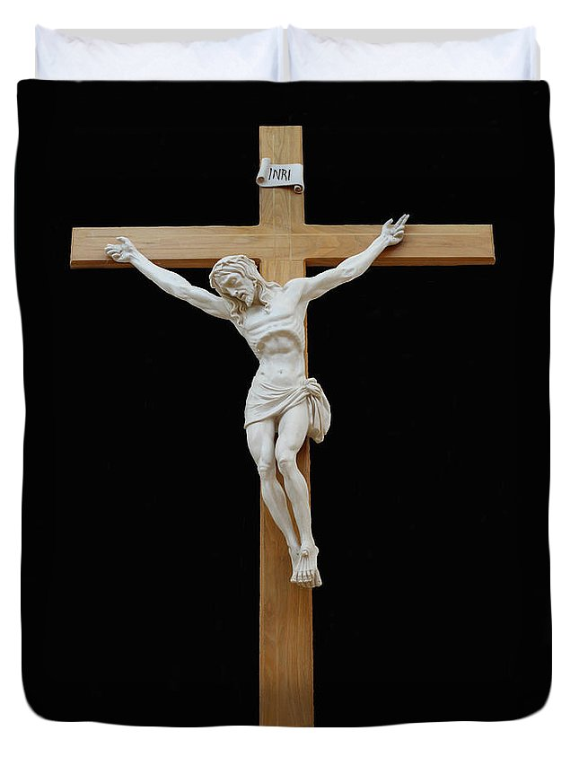 Jesus Duvet Cover featuring the photograph Sjncc Crucifix 1 Two K Eleven by Carl Deaville