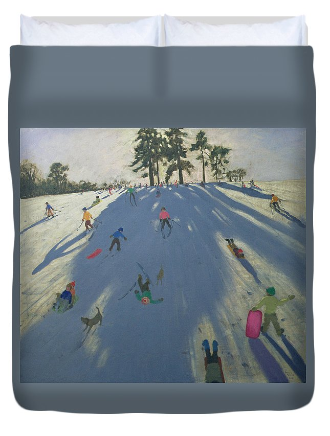 Hill Duvet Cover featuring the painting Skiing by Andrew Macara