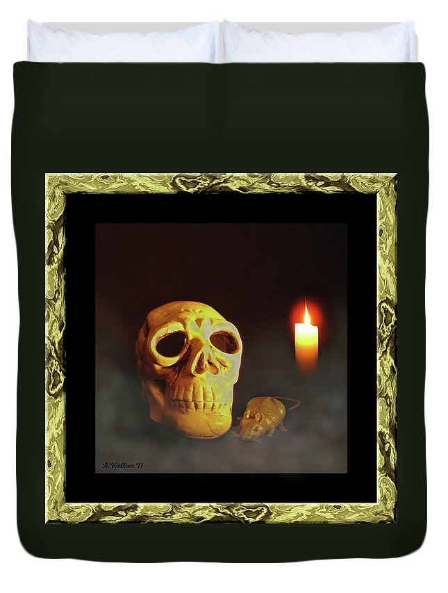 2d Duvet Cover featuring the photograph Skull And Candle by Brian Wallace