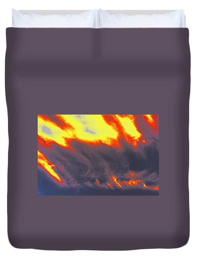 Clouds Duvet Cover featuring the photograph Sky A Flame by One Rude Dawg Orcutt