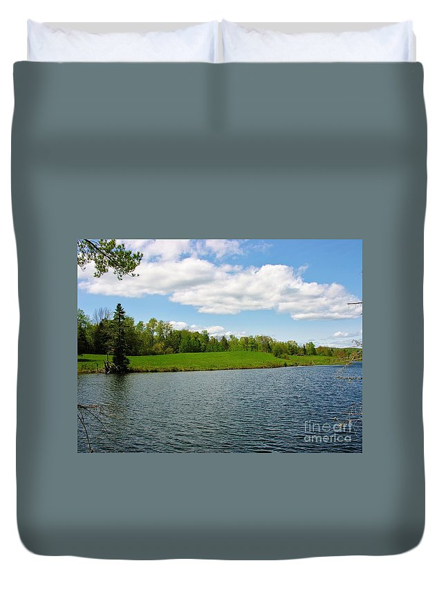 Sky Duvet Cover featuring the photograph Sky And Water Almost Meet by Sherman Perry