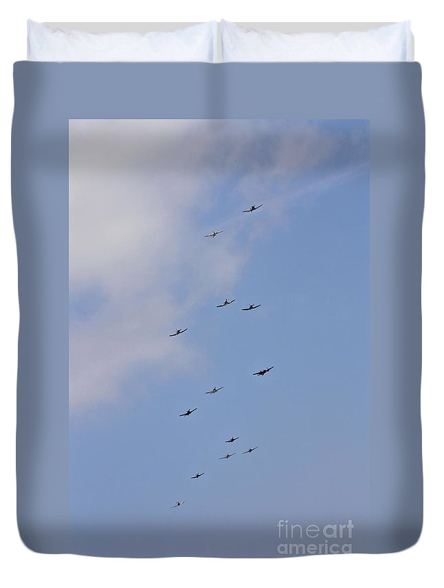 Warbirds Duvet Cover featuring the photograph Sky Full Of Warbirds by Tommy Anderson