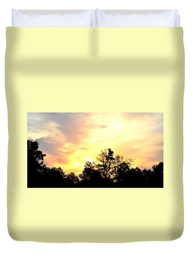 Sky Duvet Cover featuring the photograph Sky Of Fire by Maria Urso