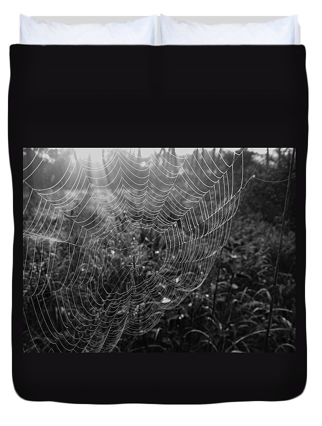 Early Morning Forest Scene From France. Duvet Cover featuring the photograph Skynet by Noze P