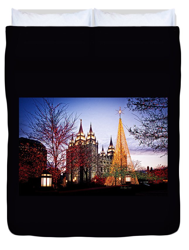 Templephotographs Duvet Cover featuring the photograph Slc Temple Tree Light by La Rae Roberts