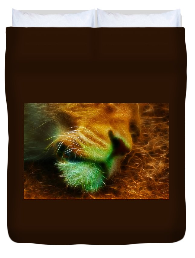 Lion Duvet Cover featuring the photograph Sleeping Lion 2 by Chris Thaxter