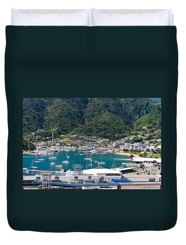 Architecture Duvet Cover featuring the photograph Small Idyllic Yacht Harbor by U Schade