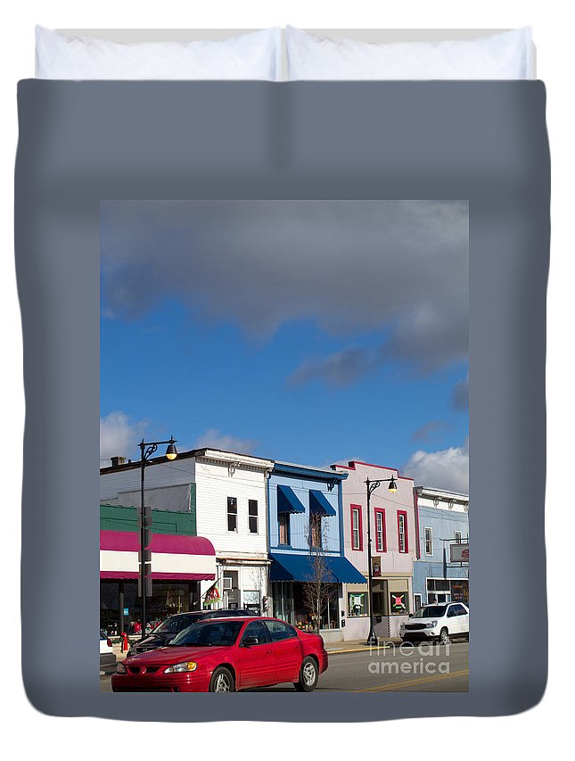Stores Duvet Cover featuring the photograph Small Town Usa by Ann Horn