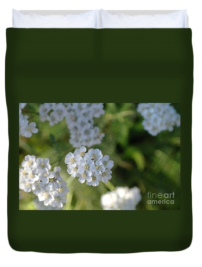 White Flowers Duvet Cover featuring the photograph Small White Wildflowers by Jeff Swan