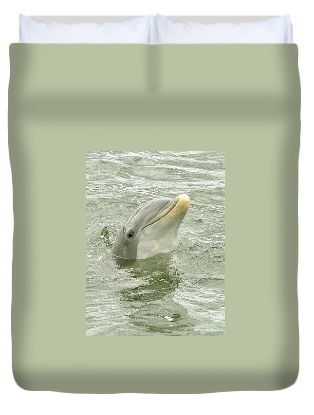 Dolphin Duvet Cover featuring the photograph Smiling Dolphin by Rick Frost