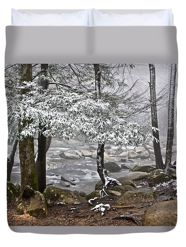 Landscape Duvet Cover featuring the photograph Smoky Mountain Stream by Tom and Pat Cory