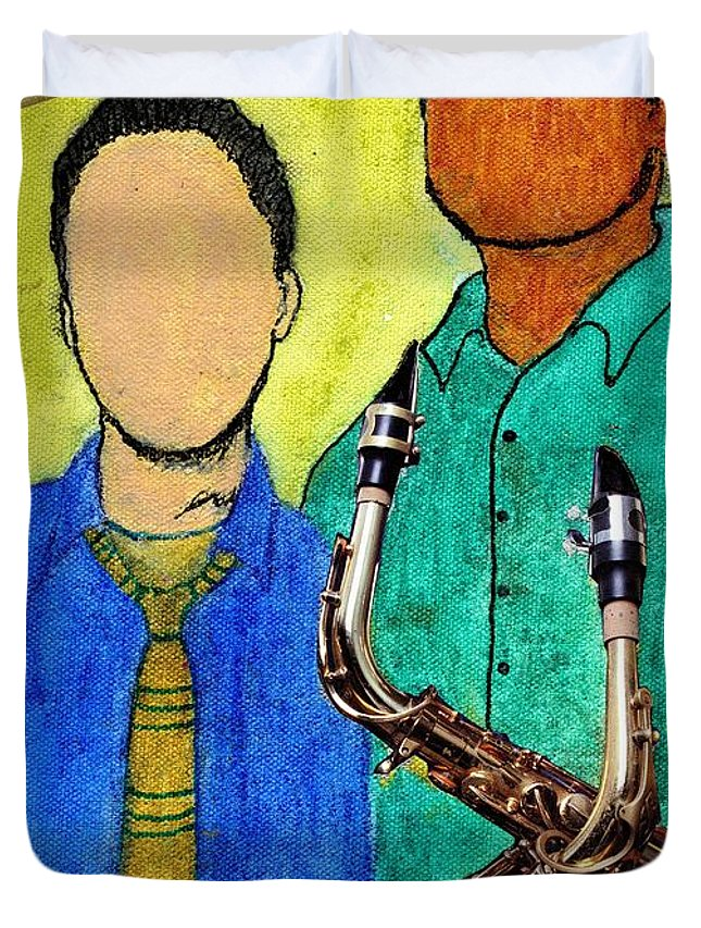 Jazz Duvet Cover featuring the mixed media Smooth Jazz by Angela L Walker