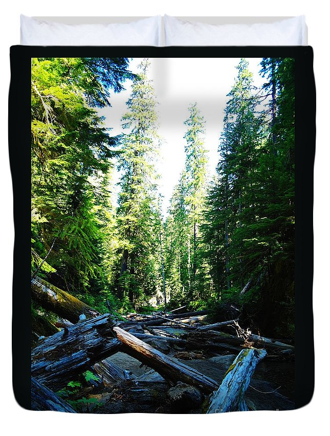 Trees Duvet Cover featuring the photograph Snag On Iron Creek by Jeff Swan