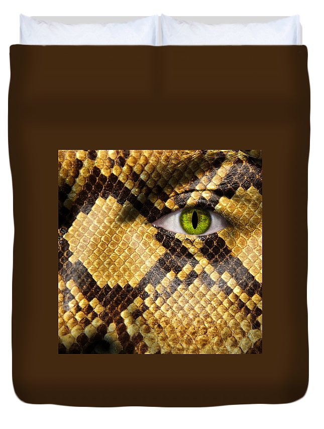 Amphibia Duvet Cover featuring the photograph Snake Eye by Semmick Photo