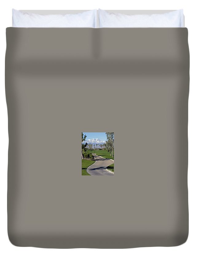Palm Desert Duvet Cover featuring the photograph Snow Capped Mountains In The Desert by Phyllis Kaltenbach