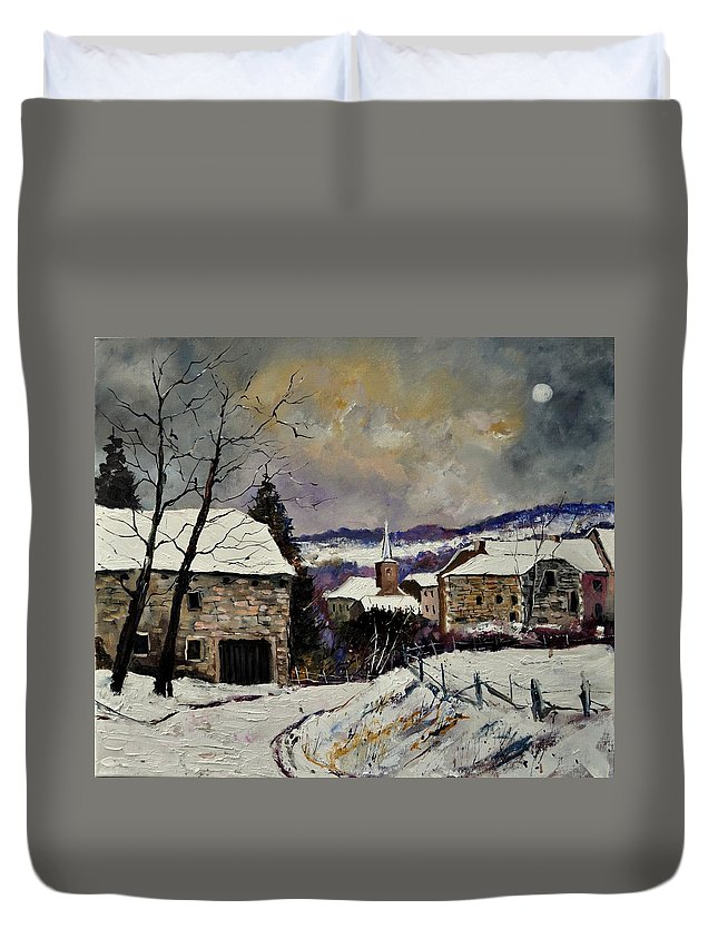 Landscape Duvet Cover featuring the painting Snow in Gendron by Pol Ledent