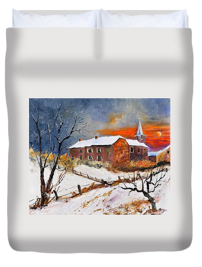 Landscape Duvet Cover featuring the painting Snow In Houyet by Pol Ledent