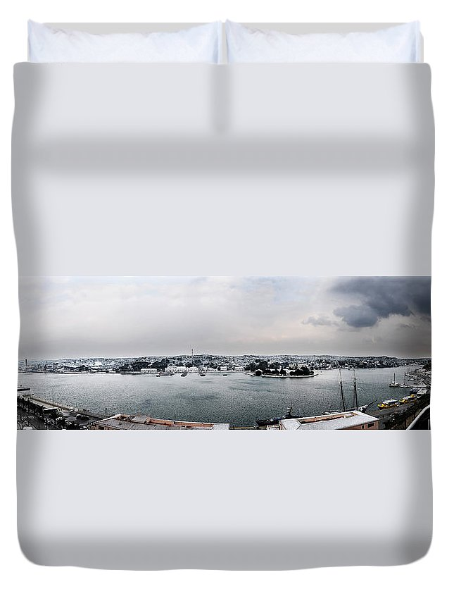 Mediterranean Duvet Cover featuring the photograph snow in port mahon - A very rare image of a mediterranean villa sided to sea covered of white by Pedro Cardona Llambias