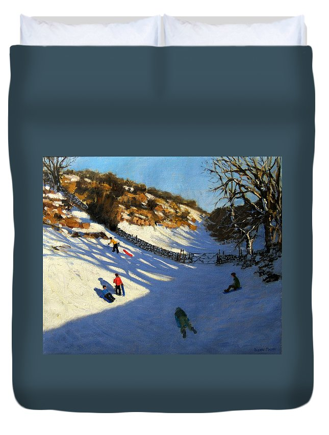 Fields Duvet Cover featuring the painting Snow In The Valley by Andrew Macara