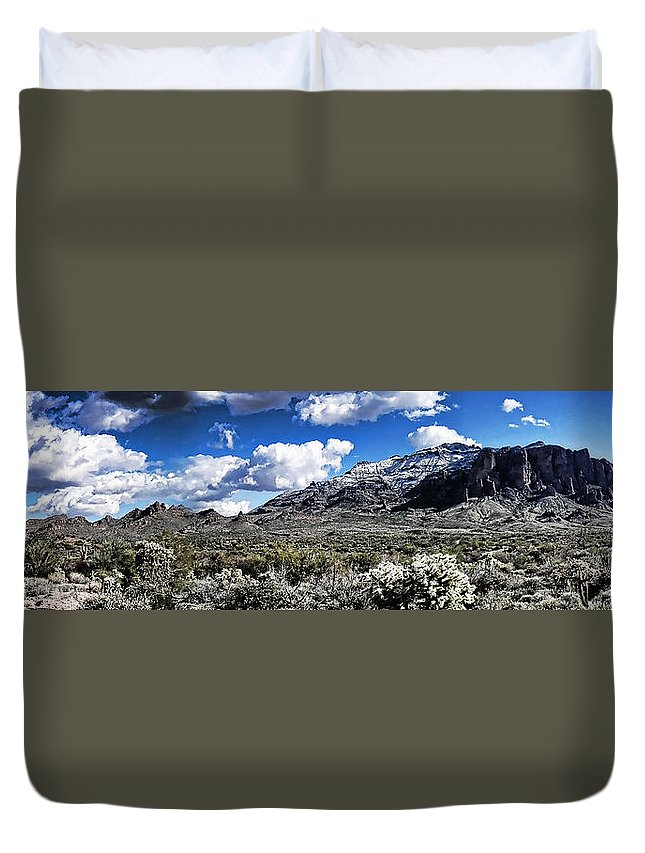 Arizona Duvet Cover featuring the photograph Snow On The Superstitions by Saija Lehtonen