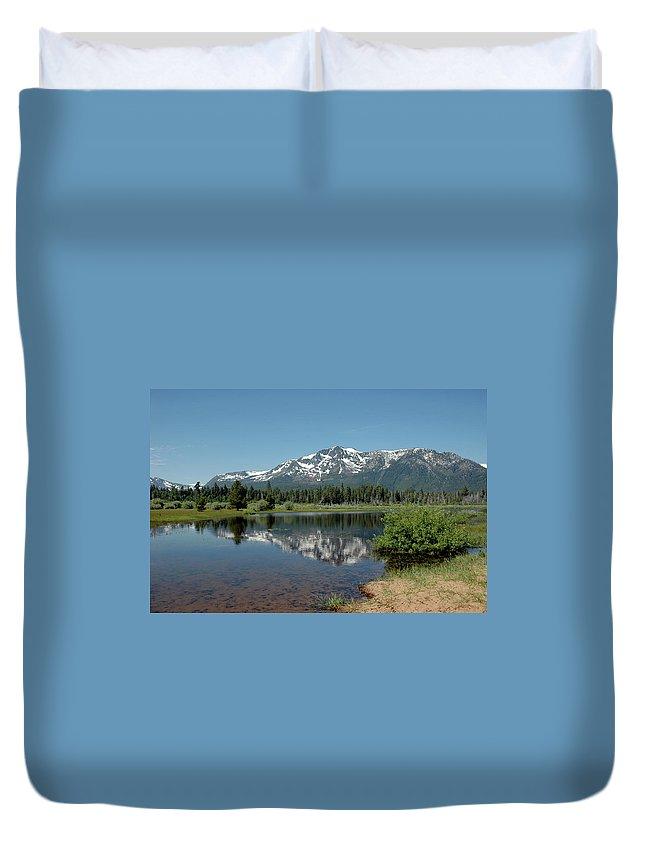 Usa Duvet Cover featuring the photograph Snow Reflections Mt Tallac by LeeAnn McLaneGoetz McLaneGoetzStudioLLCcom
