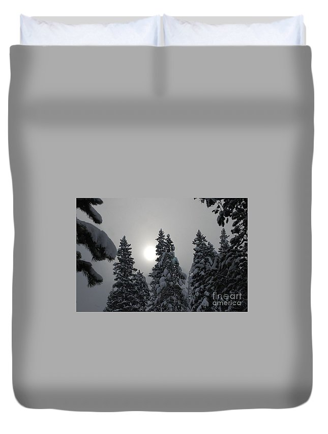 Snow Duvet Cover featuring the photograph Snow Sun by Lucy Bounds