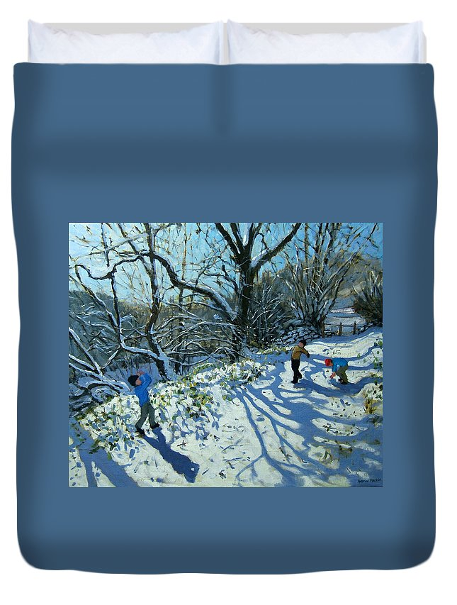 English Landscape; England Duvet Cover featuring the painting Snowball Fight by Andrew Macara