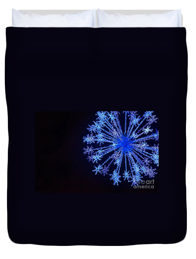 Blue Duvet Cover featuring the photograph Snowflake Sparkle by Anca Jugarean