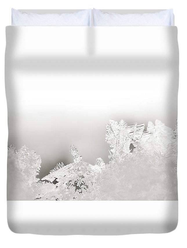 Snowflakes Duvet Cover featuring the photograph Snowland Bw by Beth Riser