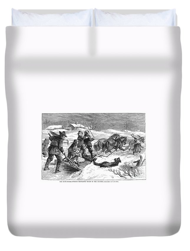 1867 Duvet Cover featuring the photograph Snowstorm In The Country by Granger