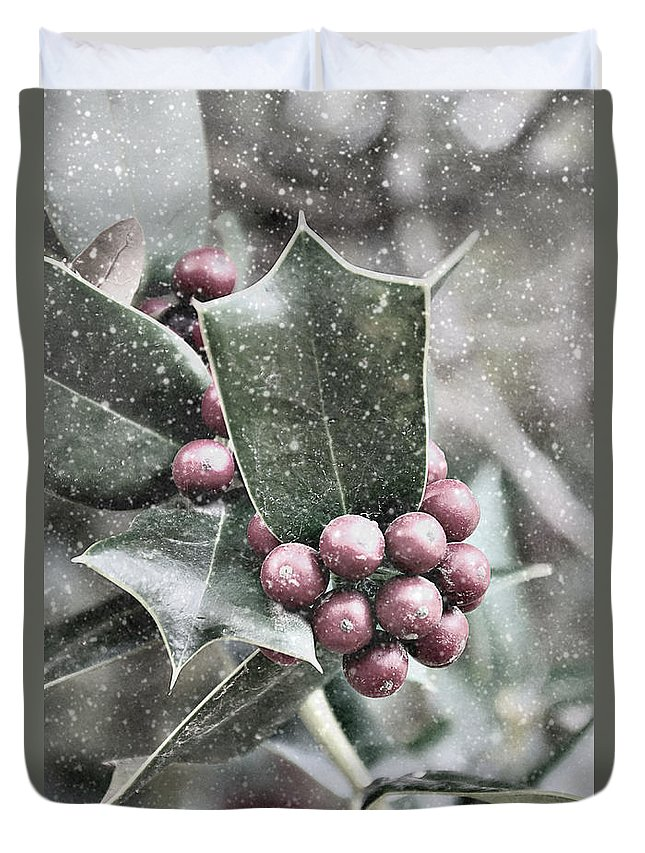 Snowy Duvet Cover featuring the photograph Snowy Holly Christmas Card by Jim And Emily Bush