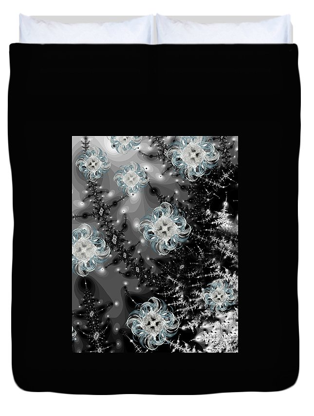 Fractal Duvet Cover featuring the digital art Snowy Night IIi Fractal by Betsy Knapp